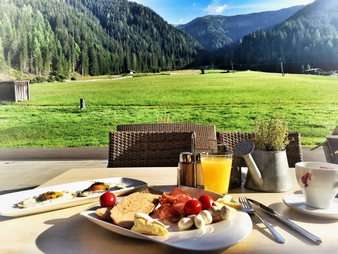 Romantic breakfast in the alps Breakfast Frühstück Food And Drink Nature Fruit Egg Alps Alps Switzerland Austria Mountain Green Color Bread Beauty In Nature Table Food Plate Healthy Eating Good Morning