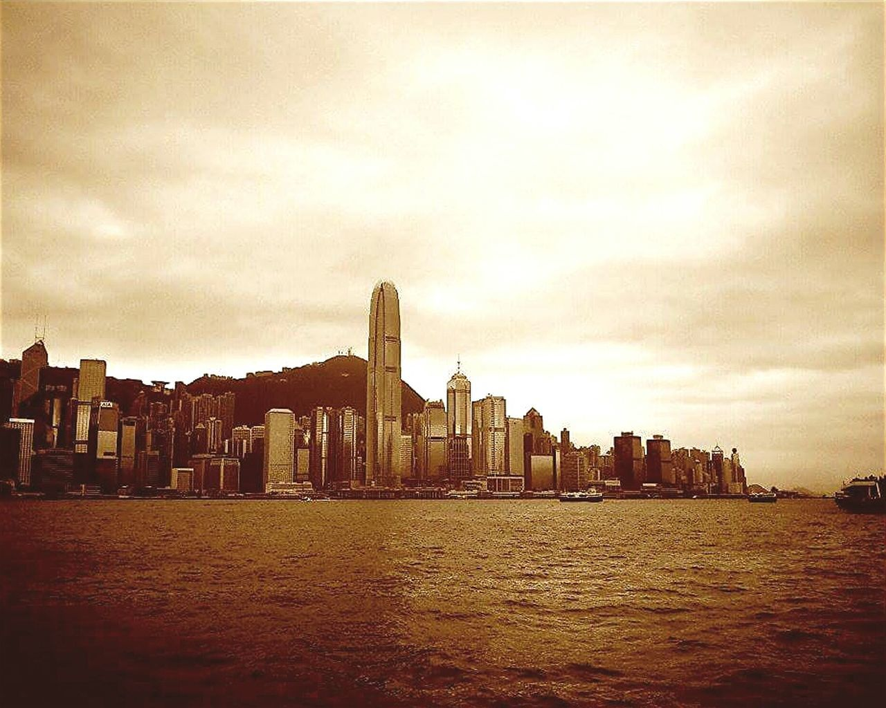 Sepia Photography Sepia Building Buildings & Sky Architecture Ocean View Water HongKong Hong Kong Victoria Harbour