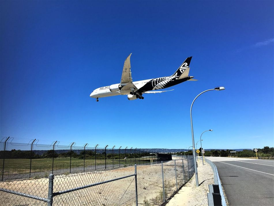 Transportation Road Plane Perth Airport Outdoors No People Low Flying Landing Jet Engine Industry Jet Hello World Flying Day Boeing 787 Airport Runway Boeing Blue Aircraft Airplane Air New Zealand Aerospace Industry Flight Aeroplane Street Photography