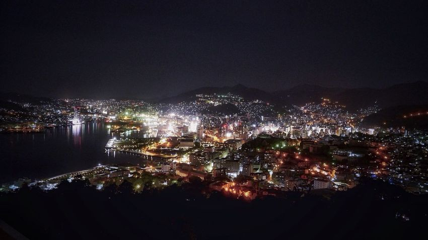 Nagasaki Night Lights Cityscapes : View from Mt.Nabekanmuri-yama Nightphotography Reflection Harbour / Lumix GX1 f/6.3 LUMIX G VARIO 14-45/F3.5-5.6 28mm Handheld Exposure de Good Night