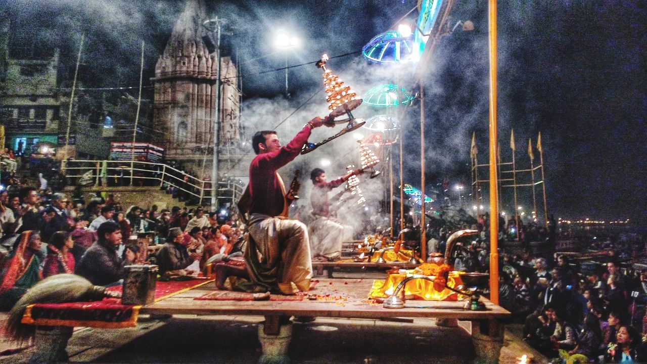 Multi Colored Popular Photos Top Popular Photo Streetphoto_color Pose Carnival Annual Event Large Group Of People Arts Culture And Entertainment Real People Night Outdoors Celebration People Varanasi India BanarasDiaries Hdr_Collection Ganga Aarti