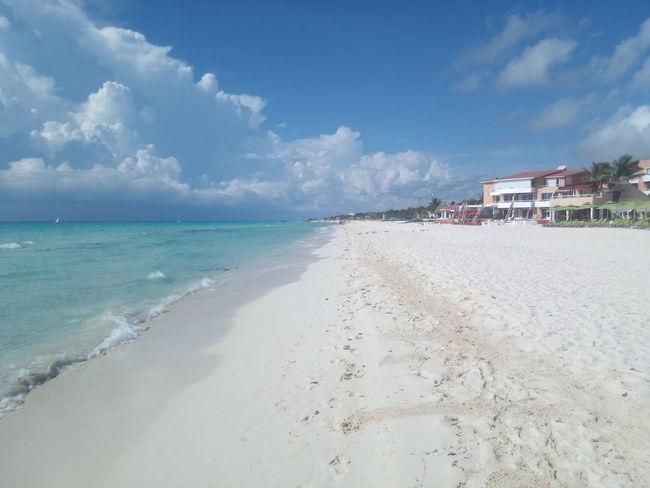 Beach Sand Sky Water Coastline Nature Cloud Ocean Beauty In Nature Sea Bluesky Blue Water Mexico Karibe Palm Palms Palm Tree