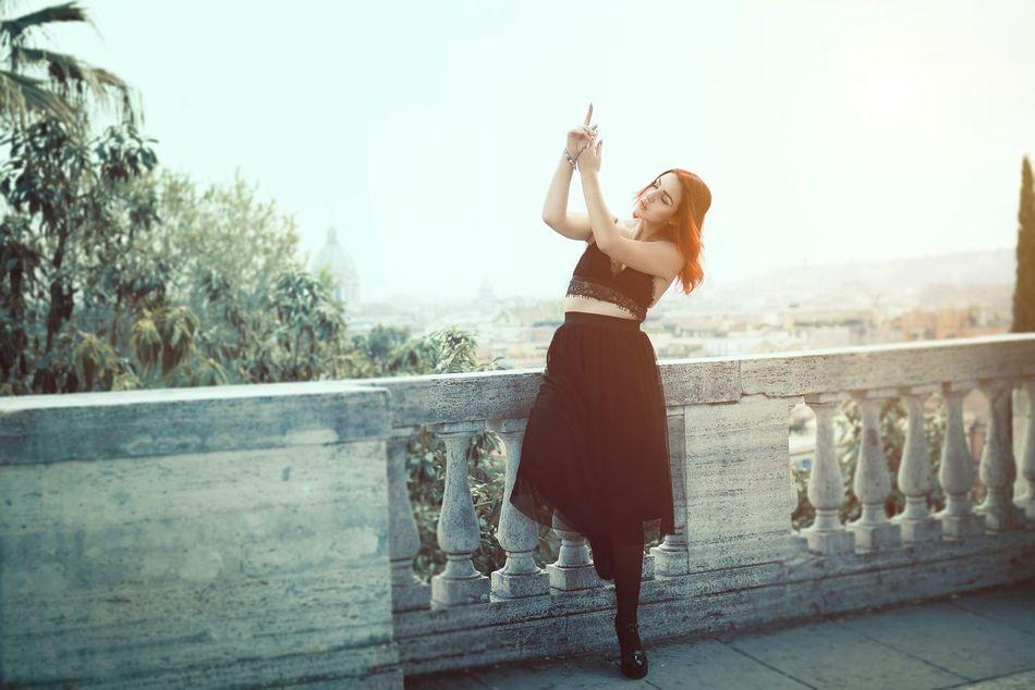 Portrait Woman Model Urban Rome Italy Travel Dance Sun Sunset Sky Pincio Redhead Dress Hands Landscape
