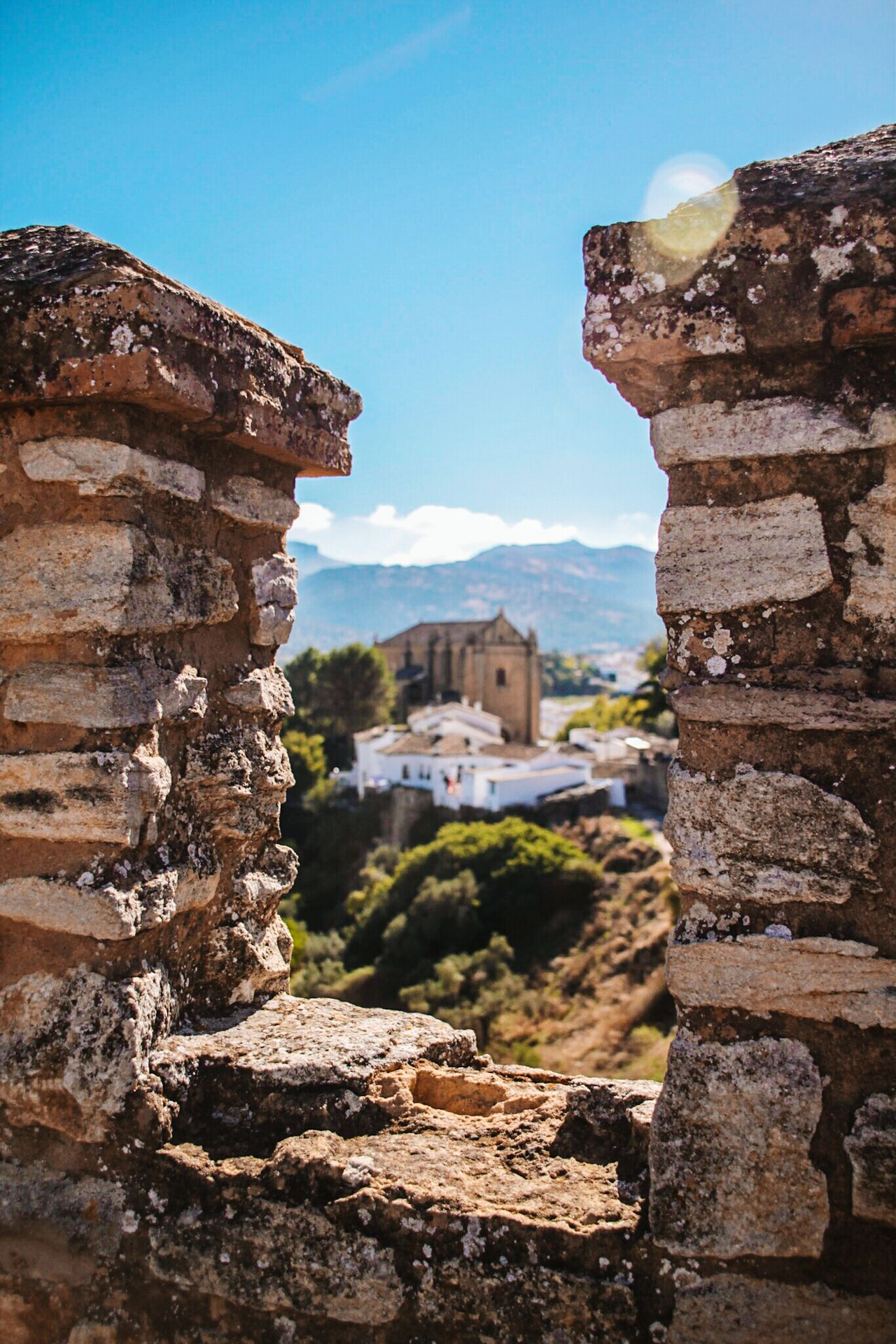 Architecture History Old Ruin Travel Destinations Travel Built Structure Outdoors Ancient Civilization Sky Building Exterior Monument Framed Check This Out EyeEm Gallery Ronda Spain Ronda, Malaga Travel Church Almenas Framed Vision Castle Walls