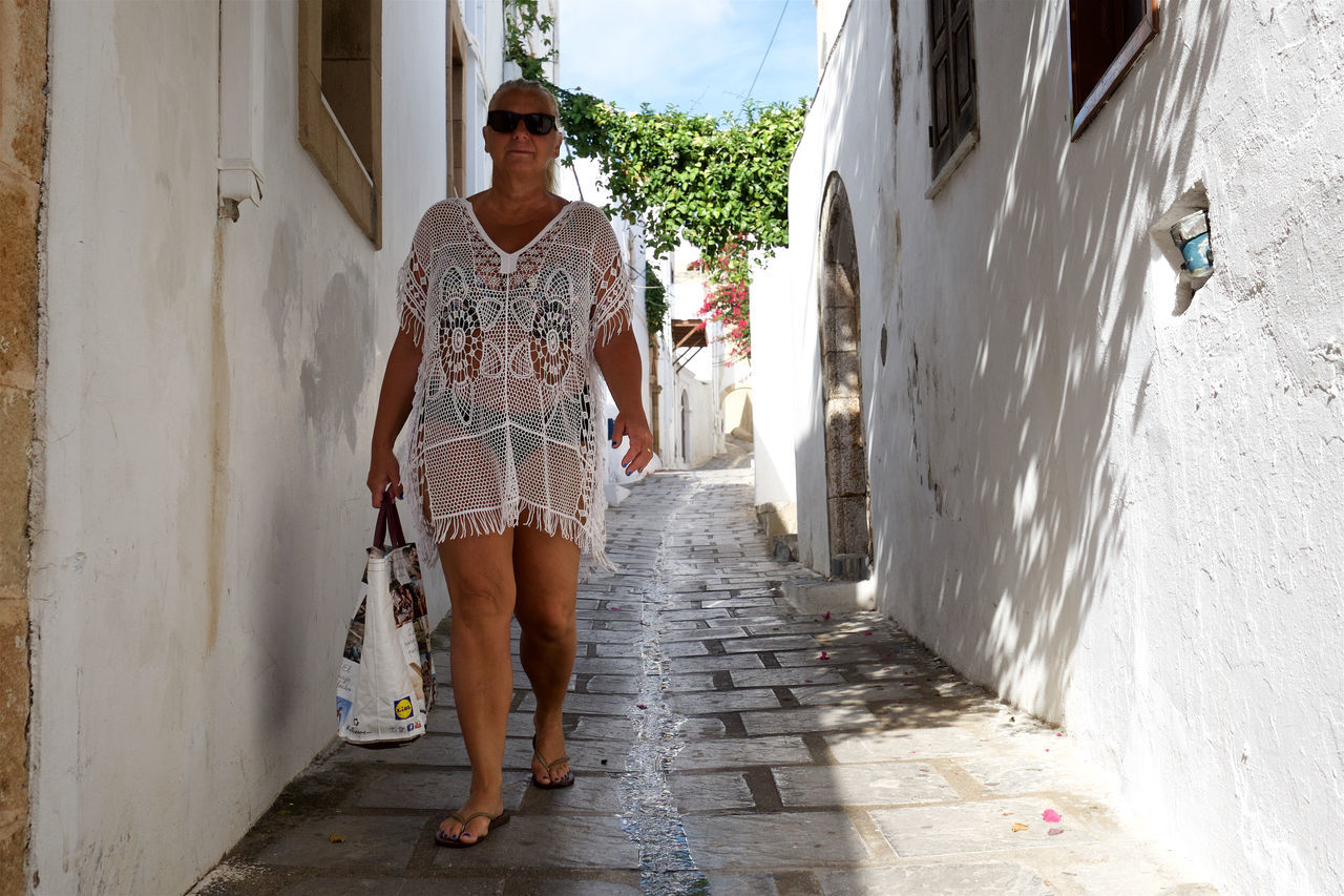 Architecture Bag Bikini Building Exterior Built Structure Casual Clothing Day Footpath Full Length Greece Greek Greek Islands In Front Of Legs Lindos Lindos Greece Outdoors Person Rhodes Shadow Street Street Photography Woman