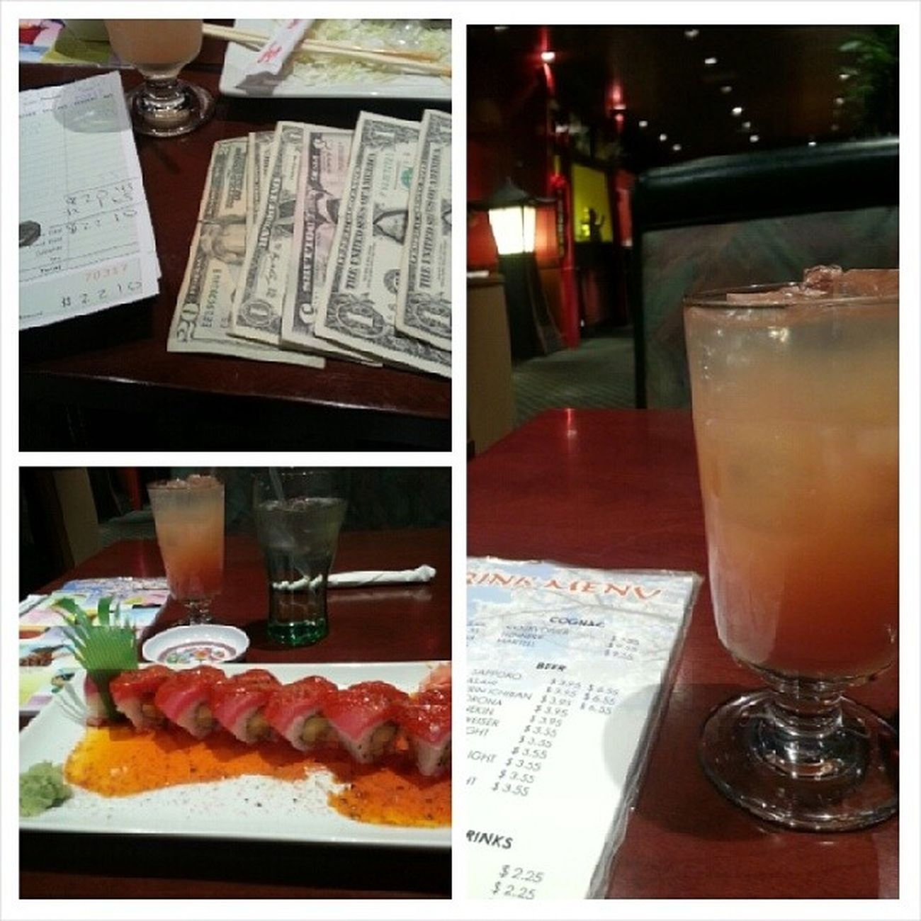 Sushi goes well with Sexonthebeach Goodservice Illtipyagood no prob Moneyaintaissue ;) boss
