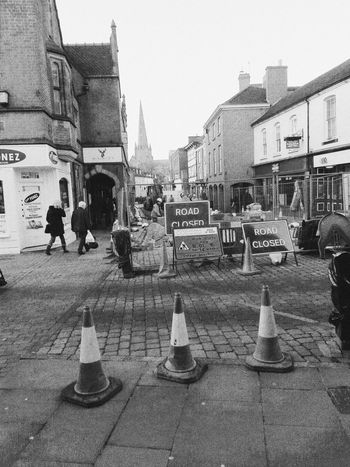 Urban Street Road Closed Work Do Not Pass Black And White