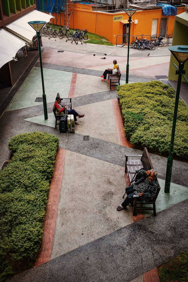 Sitting Relaxation Leisure Activity Men Footpath Park - Man Made Space Garden Path Resting Park Old HDB HDB Flats Neighbourhood Void Deck Heartland Bench Street Photography Streetphotography Streetphoto_color Street Life Everybodystreet Samsung Galaxy Note 4 Colors And Patterns