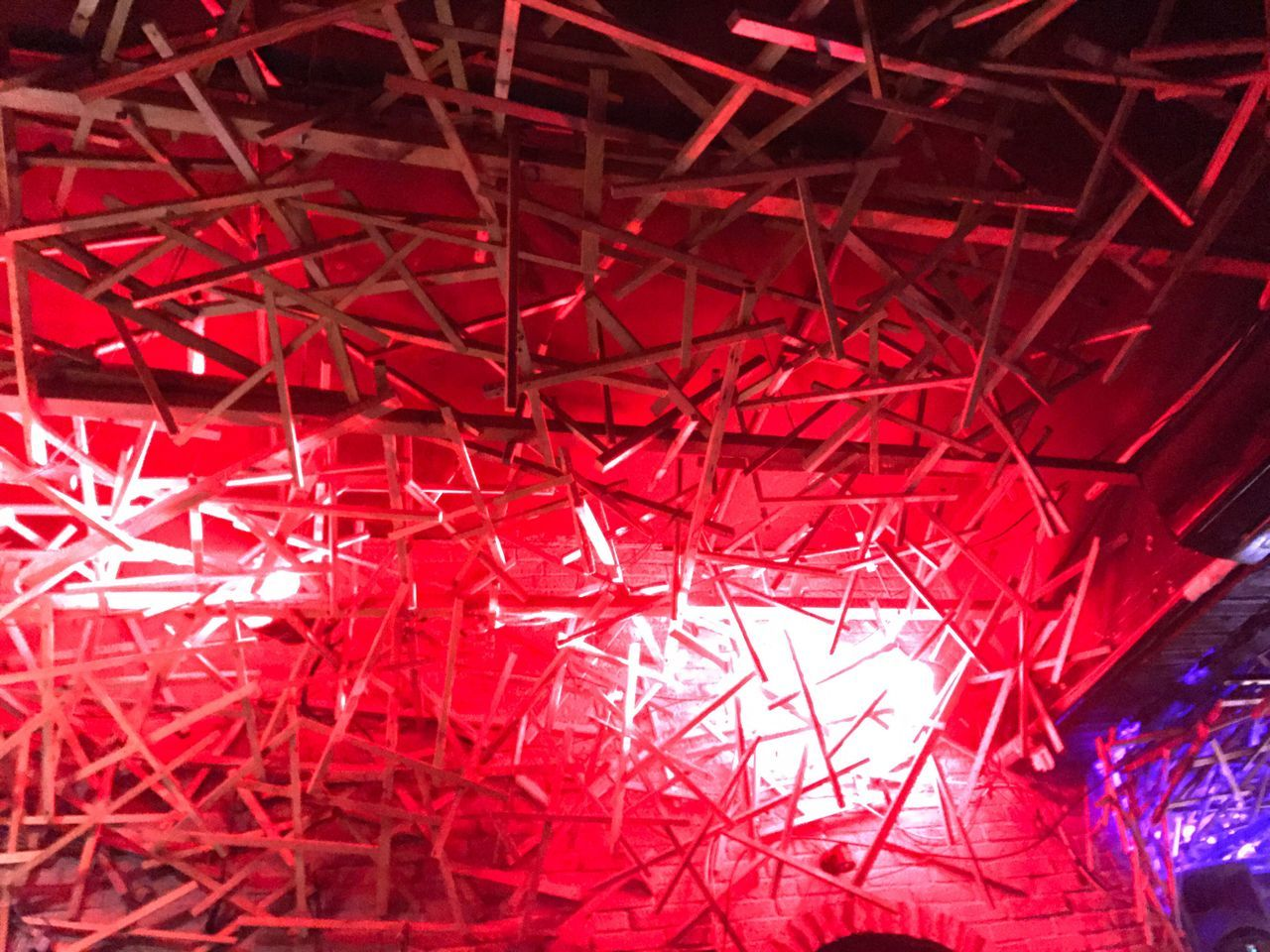 red, low angle view, illuminated, backgrounds, no people, full frame, abstract, indoors, close-up, night