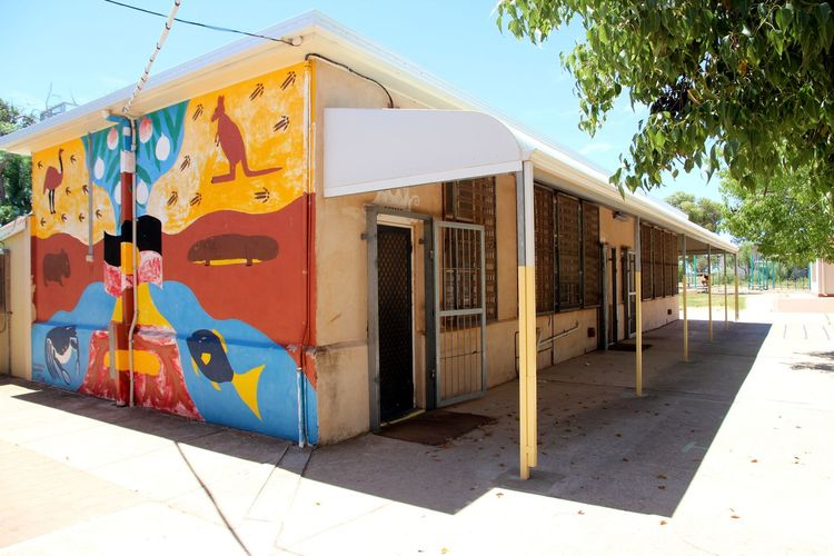 Aboriginal school Aboriginal Art Aboriginal School Animals Architecture Australia Australian Animals Blue Sky Bright Colours Building Exterior Built Structure Day Education Learning Learning Environment Mural No People Outdoors Painting Primary School School School Life  South Australia Summer