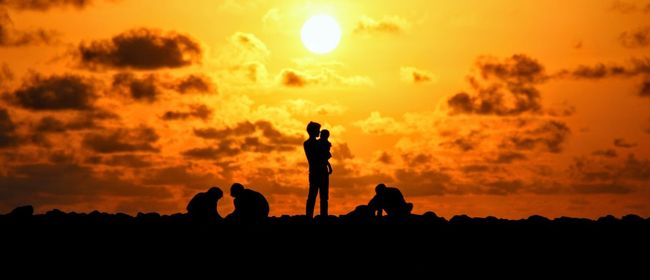 Silhouette Sunset Togetherness Dramatic Sky Fatherhood Moments Father & Son Tranquility Alone Time EyeEm Best Shots The Week On Eyem Time To Reflect Priceless My Favourite Place