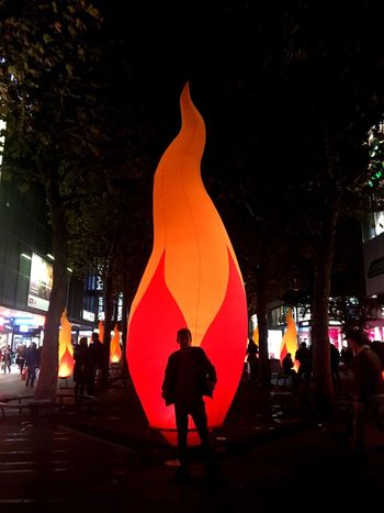 Night Real People Men Rear View Silhouette Lifestyles Illuminated Outdoors Tree Women Architecture One Person City Sky Adult People Stadt Stuttgart Leuchtet Licht Feuer EyeEmNewHere