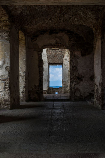 Inner view of the old Borgholm Castle on the island Öland Island, Sweden Ancient Architecture Blue Borgholm Borgholms Slottsruin Borgholmslott Built Structure Castle Clouds Day Europe Historic History Indoors  Medieval Northern Europe Old Old Ruin Ruin Ruined Stone Sweden The Past Window Öland
