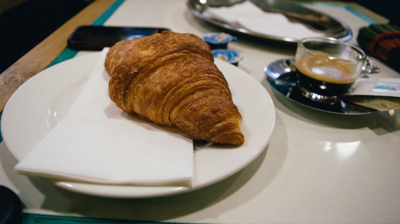 Bread Break Breakfast Close-up Coffee Croissant Day Delicious Drink Food Food And Drink Freshness Healthy Eating Indoors  No People Plate Ready-to-eat Table Tasty