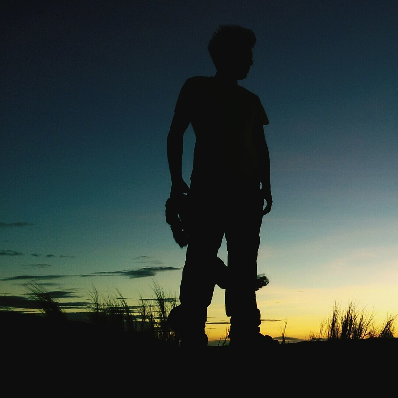 Silhouette Sunset One Man Only Only Men Standing Sky People Outdoors Nature Day TrekkingDay TravelPhilippines