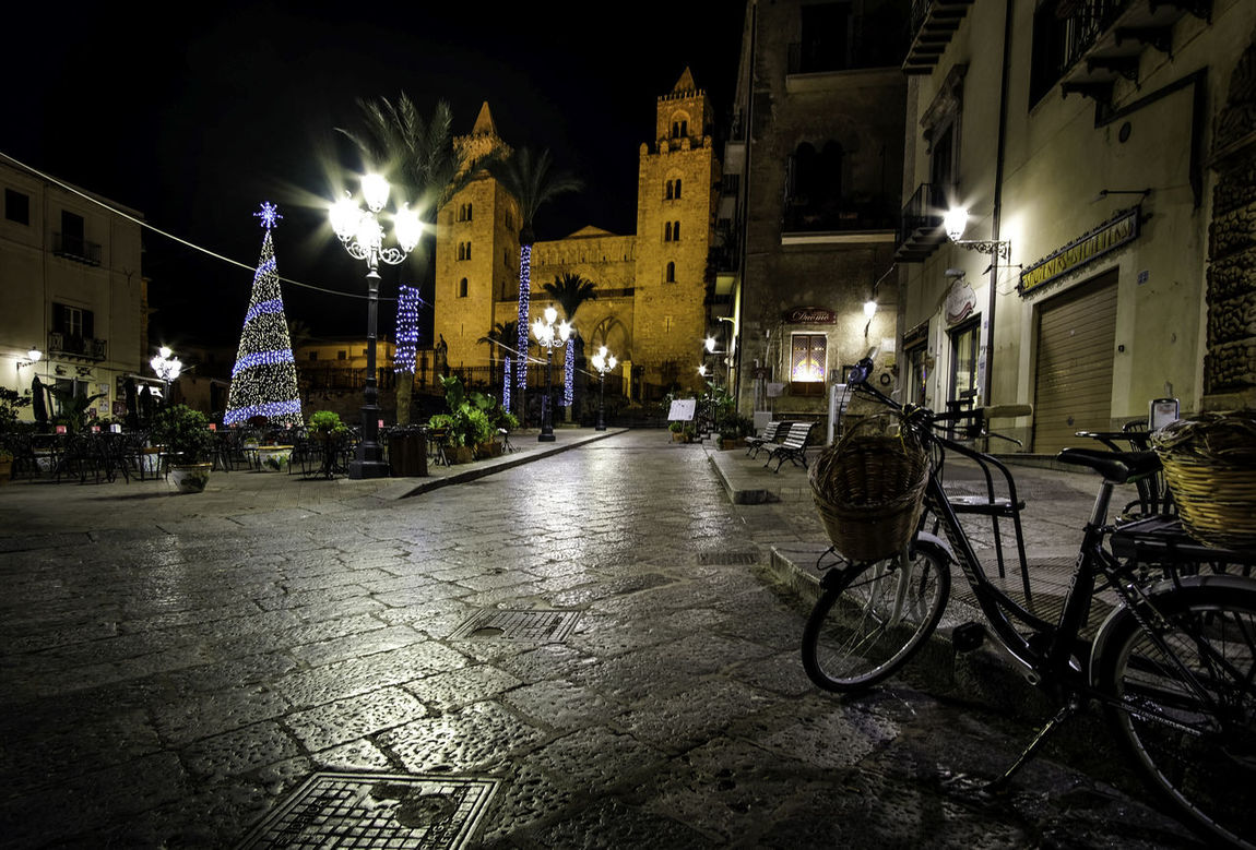 Winter night in Cefalù. Architecture Bicycle Christmas Lights Christmas Tree Church City Illuminated Night No People Normanni Outdoors Sicily