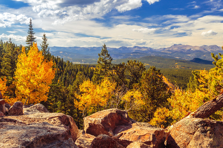 Aspen Trees Autumn Autumn Colors Beauty In Nature Cloud - Sky Colorado Fall Fall Colors Golden Gate Canyon State Park Landscape Mountain Mountain Range Nature No People Outdoors Raccoon Trail Rock - Object Scenics Season  Tree Yellow