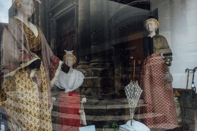 National Provencal costumes. Arles, Provence, France Arles Clothes Costume Culture Cultures Design Female France History Human Representation Legacy Past Provencal Provence Shop Shop Window Shopping Skirt Umbrella Window