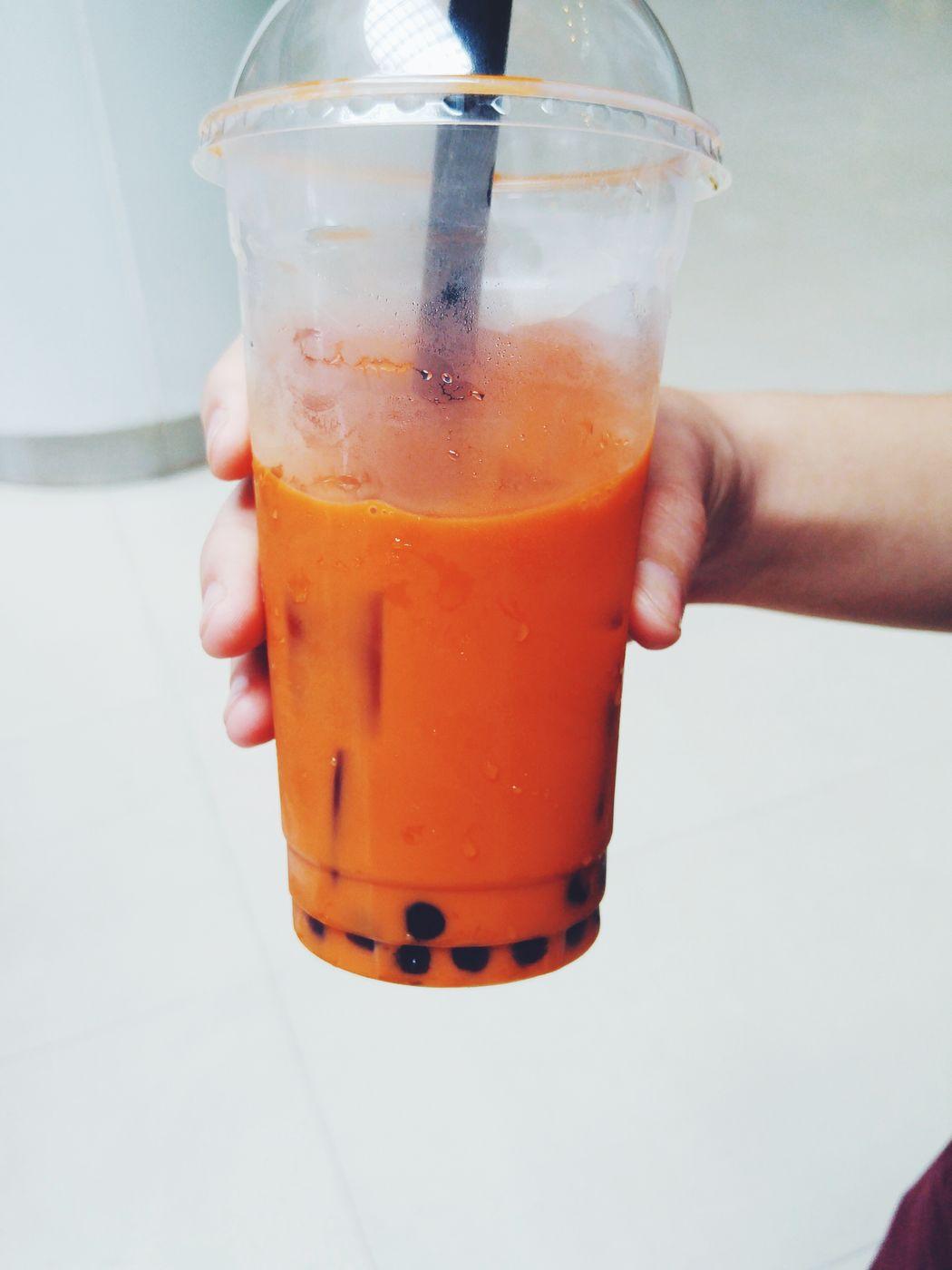 Liquid Lunch Thai Milk Tea Pearls Tea Drink Sweet Plastic Hot Day Cold Drink Some thai milk tea for a warm day Cha Yen