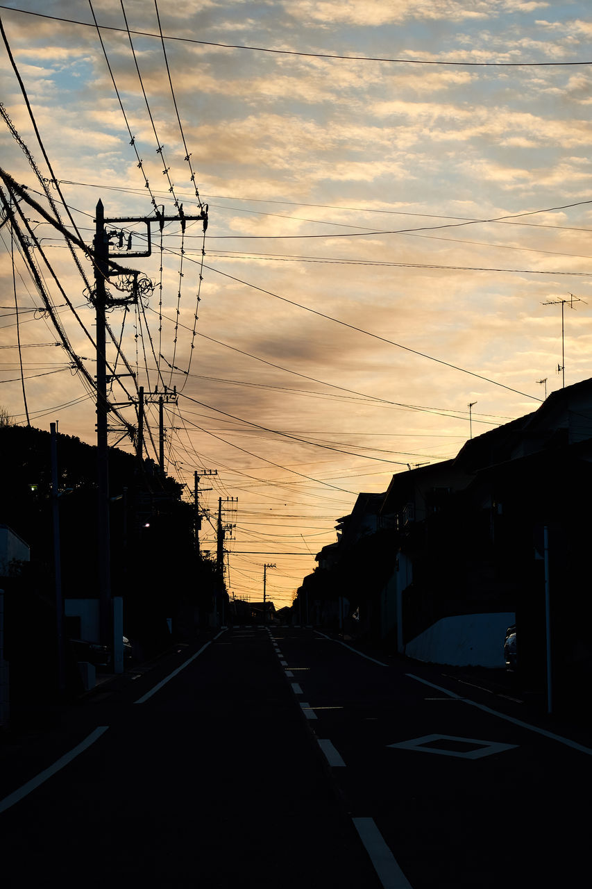cable, connection, sunset, sky, power line, electricity pylon, power supply, silhouette, electricity, cloud - sky, technology, built structure, fuel and power generation, no people, architecture, outdoors, building exterior, day