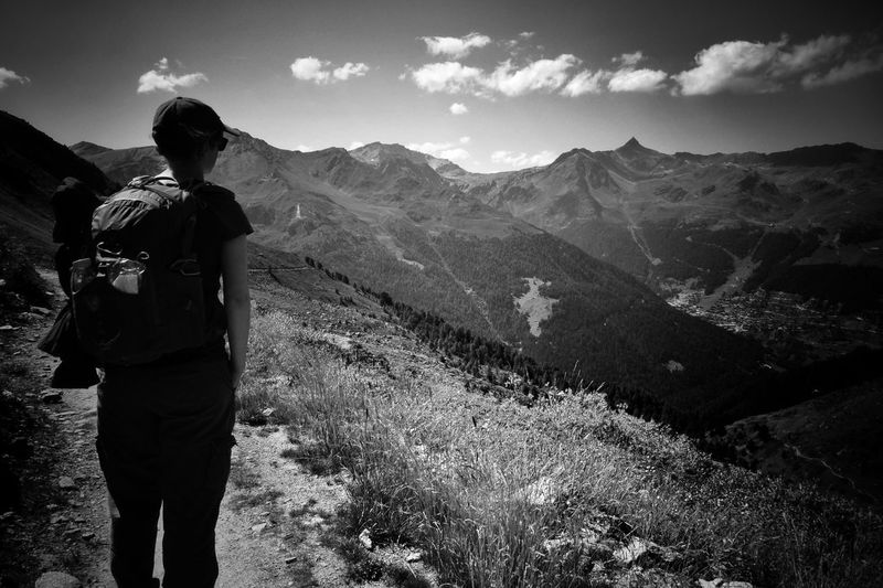 My favourite traveling companion in this journey of life. Mountain Real People Backpack Rear View Hiking Walking Sky Standing Nature Beauty In Nature Adventure Outdoors One Person Landscape Mountain Range Scenics Lifestyles Day People Swiss Alps Swiss Switzerland Valdanniviers The Great Outdoors - 2017 EyeEm Awards