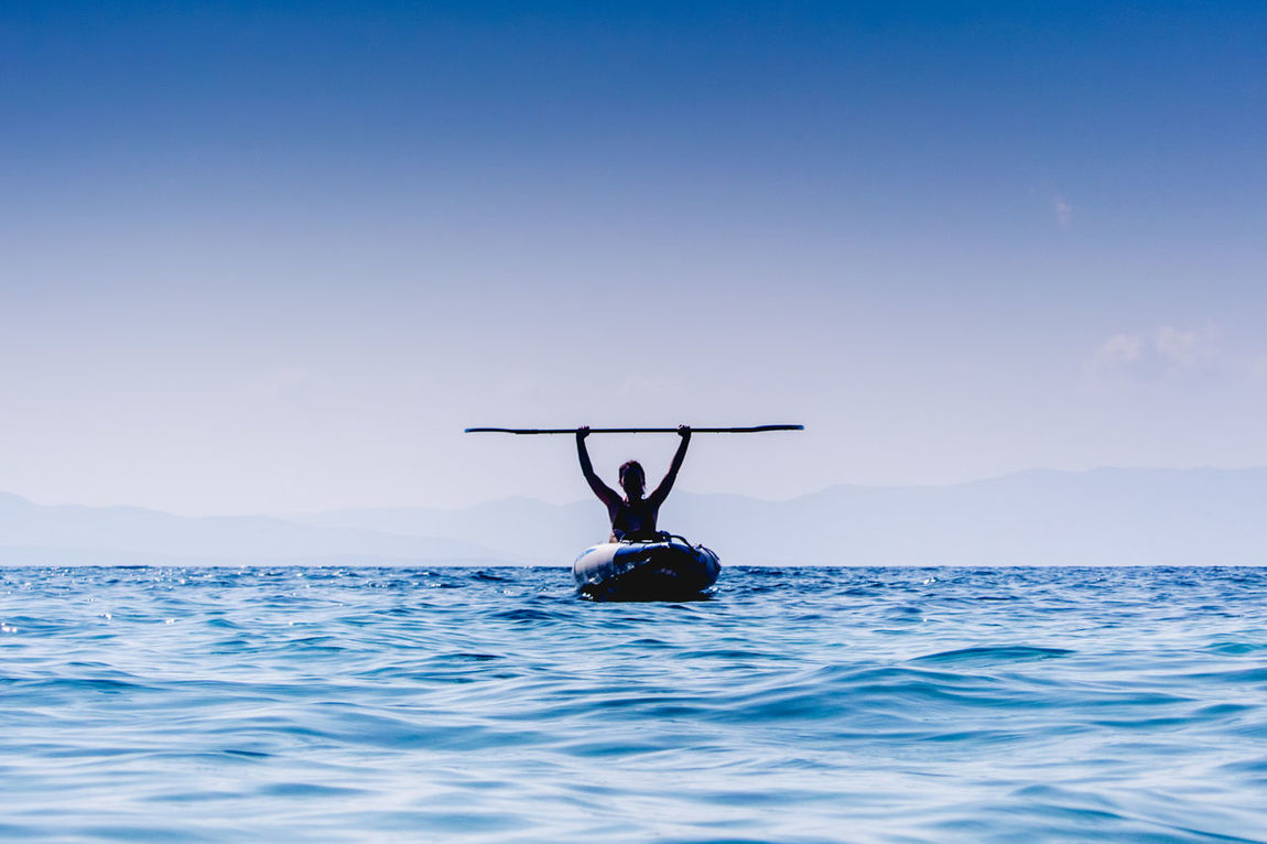 Adventure Blue Boat Clear Sky Leisure Activity Sea Sports Summer