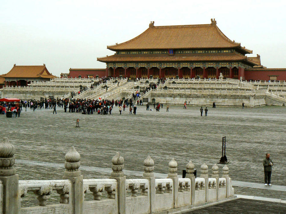 Ancient Civilization Beijing China Cultures Forbidden City Hall Of Supreme Harmony Stonework Tourists