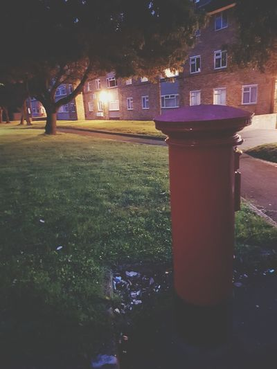 Outdoors No People Night Grass Red Illuminated Architecture Nature Tree Sky Post Box  Post Box  Red Post Box