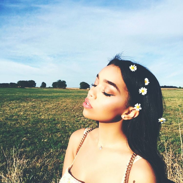 Black Hair Nature Sky People Young Adult Outdoors Field Beauty Flower Beautiful Woman Not Taken By Me Edited By Me