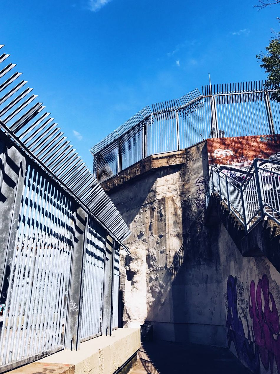 Architecture Built Structure Building Exterior Day No People Outdoors Sky Bunker Flakturm Berlin Berliner Ansichten Berlin Photography Sun Blue Sky WWll Architecture Low Angle View Concrete Fence