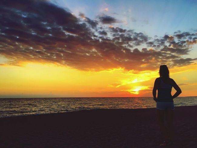 Horizon Over Water Sunset Beach Siluette