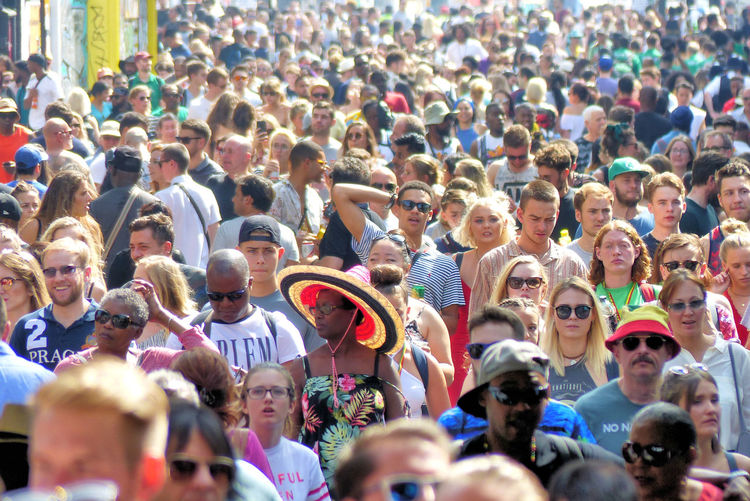 Notting Hill Carnival 2017 Notting Hill Gate Station Portobello Road Crowd Crwods Large Group Of People Masses Of People Men Outdoors Real People Sombrero Standing Togetherness Woman In A Sombrero Women