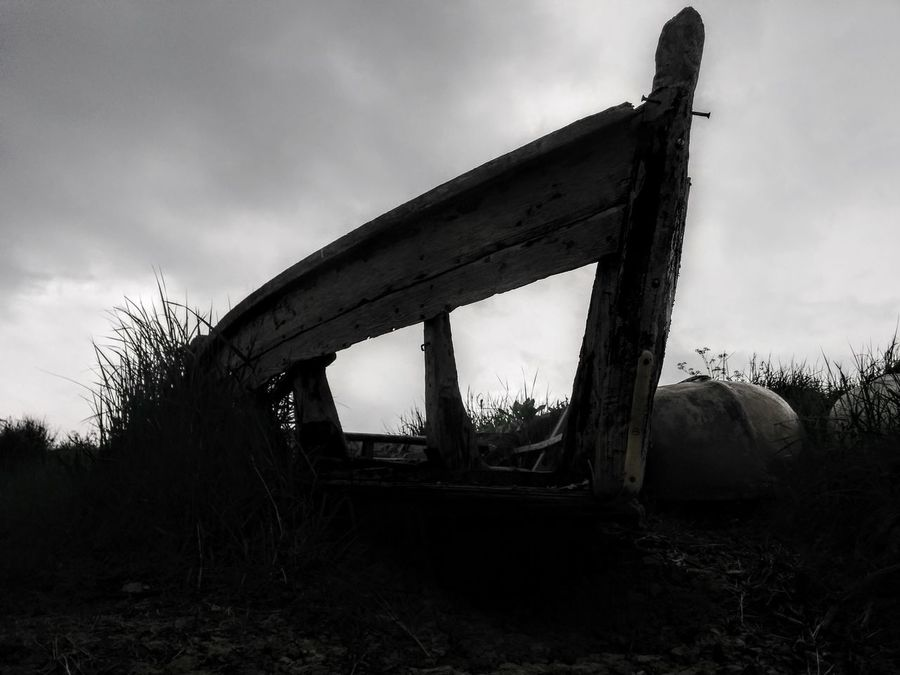 Boat Chesil Beach Day Dore Lagoon Nature No People Outdoors Skeleton Sky Structure Unseaworthy