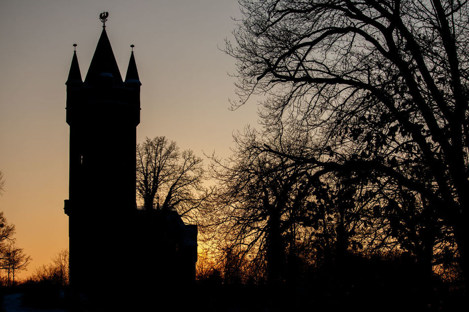 Architecture Babelsberg Babelsberger Park Flatow Tower Flatowturm Historical Buiding Historical Building Historical Sights No People Outdoors Potsdam Sightseeing Silhouette Sky Snow Sunset Sunsets Tourist Attraction  Tree Winter