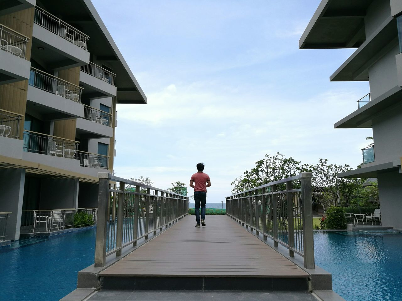 Alone... One Person Human Back Back Cloud - Sky Full Length Confidence  Poolside Pool Poolvilla Poolview Sea Beach Resort