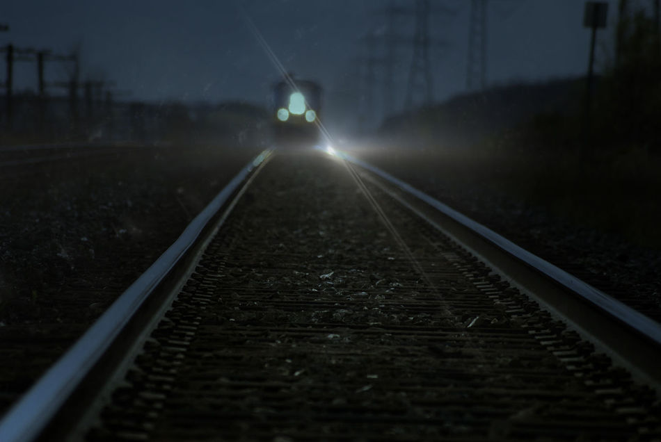 Beautiful stock photos of train, Canada, Illuminated, Lens Flare, Mode Of Transport