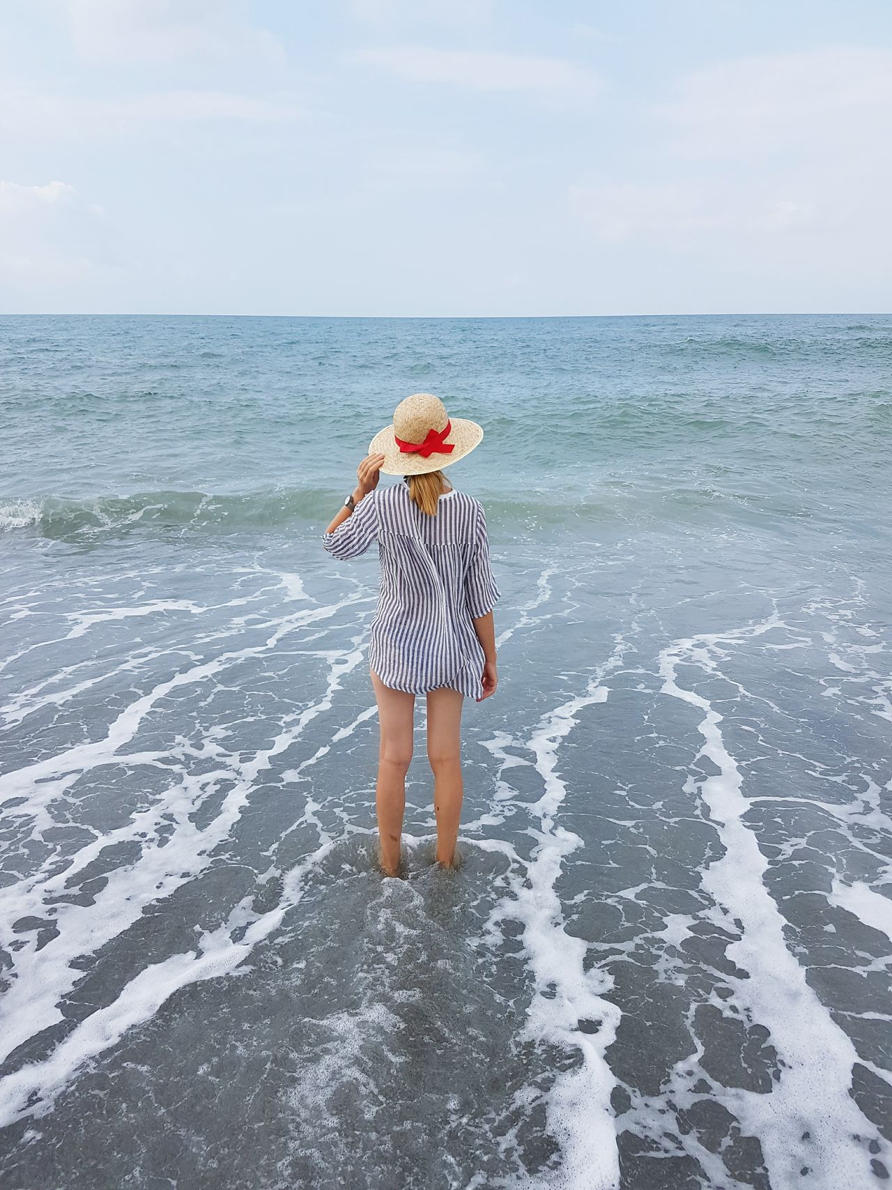 Full Length Sea Beauty In Nature Nature Woman Blue Wave Freedom Serenity Vacation Beachtime Beachfashion Water One Person Beach Outdoors Horizon Over Water Adult Day Sky EyeEmNewHere