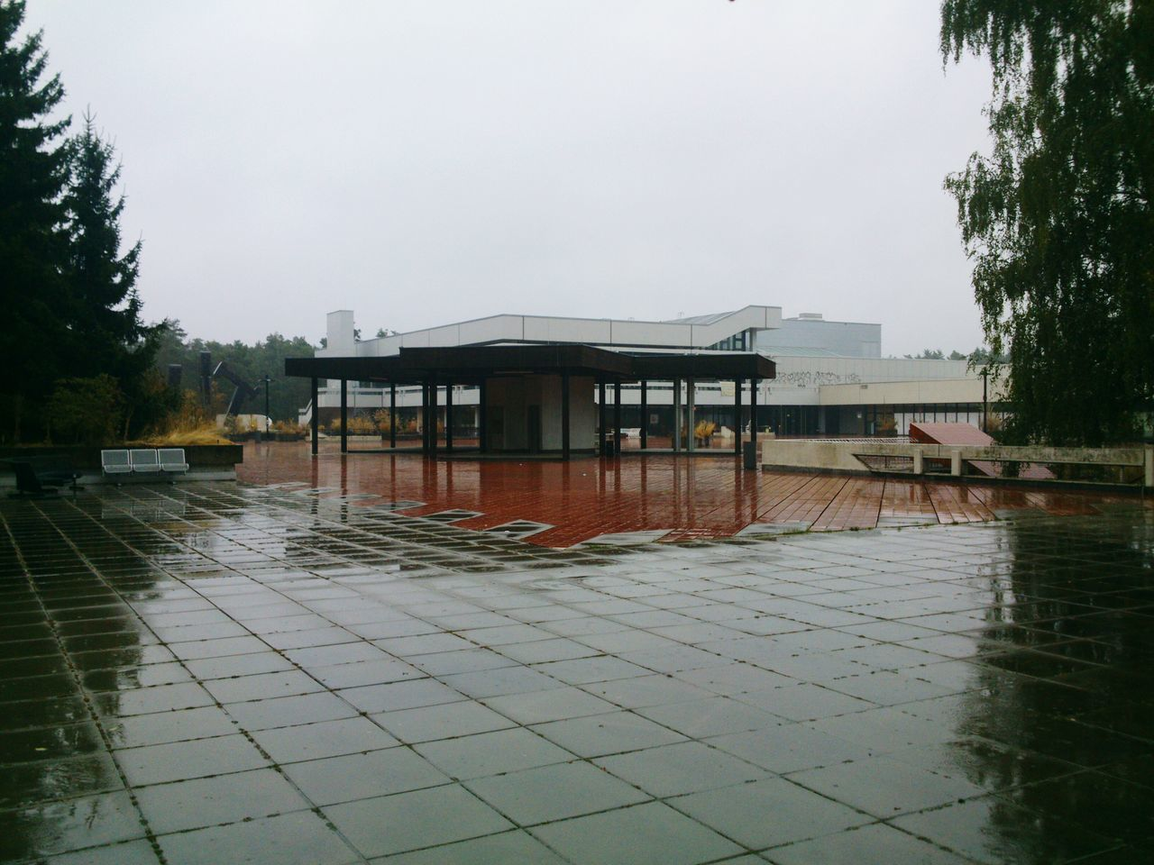 Built Structure Architecture Water Building Exterior Day Red Erlangen Roter Platz Red Square Fall Season Autumn Collection Rainy Days No People