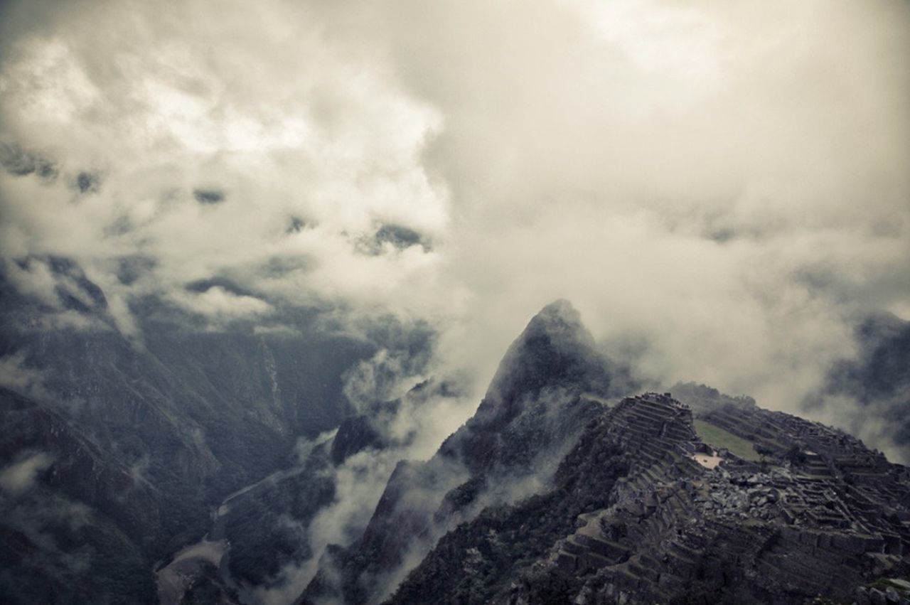 Aerial Shot Travel Mountains Clouds Machu Picchu