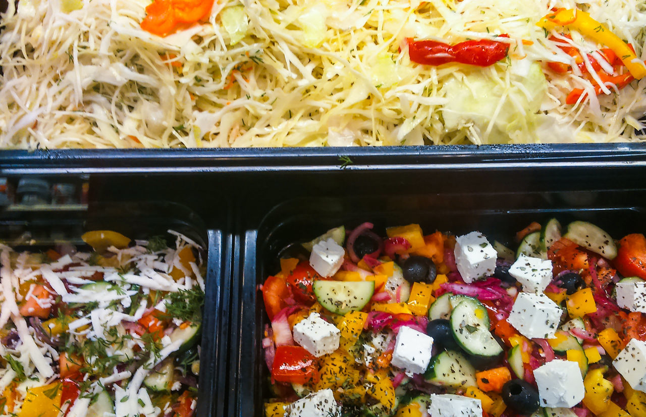 Showcase with vegetable salad at the store Cheese Display Feta Food Healthy Nutrition Salad Bar Showcase Store Supermarket Vegetable
