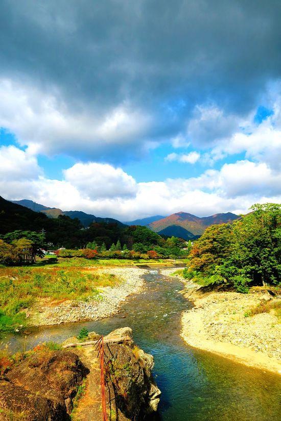 諏訪峡 Suwa Gorges Canyon Japan Japanese  Natural Nature Water River 利根川 Tonegawa Vivid Sky Mountain Colorful Color Scenery Autumn