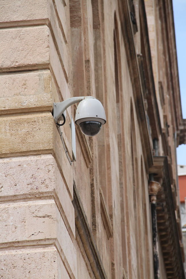 Security camera High Angle View Horizontal Symmetry Low Section Security Securitycam Structure Wall Wall - Building Feature