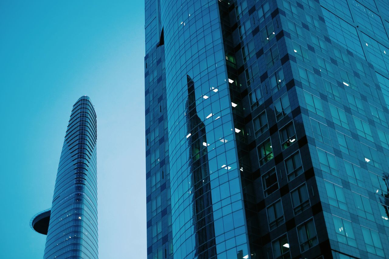 Skyscraper City Modern Building Exterior Architecture Low Angle View Blue Built Structure Tower No People Outdoors Clear Sky Corporate Business Office Block Day Sky via Fotofall