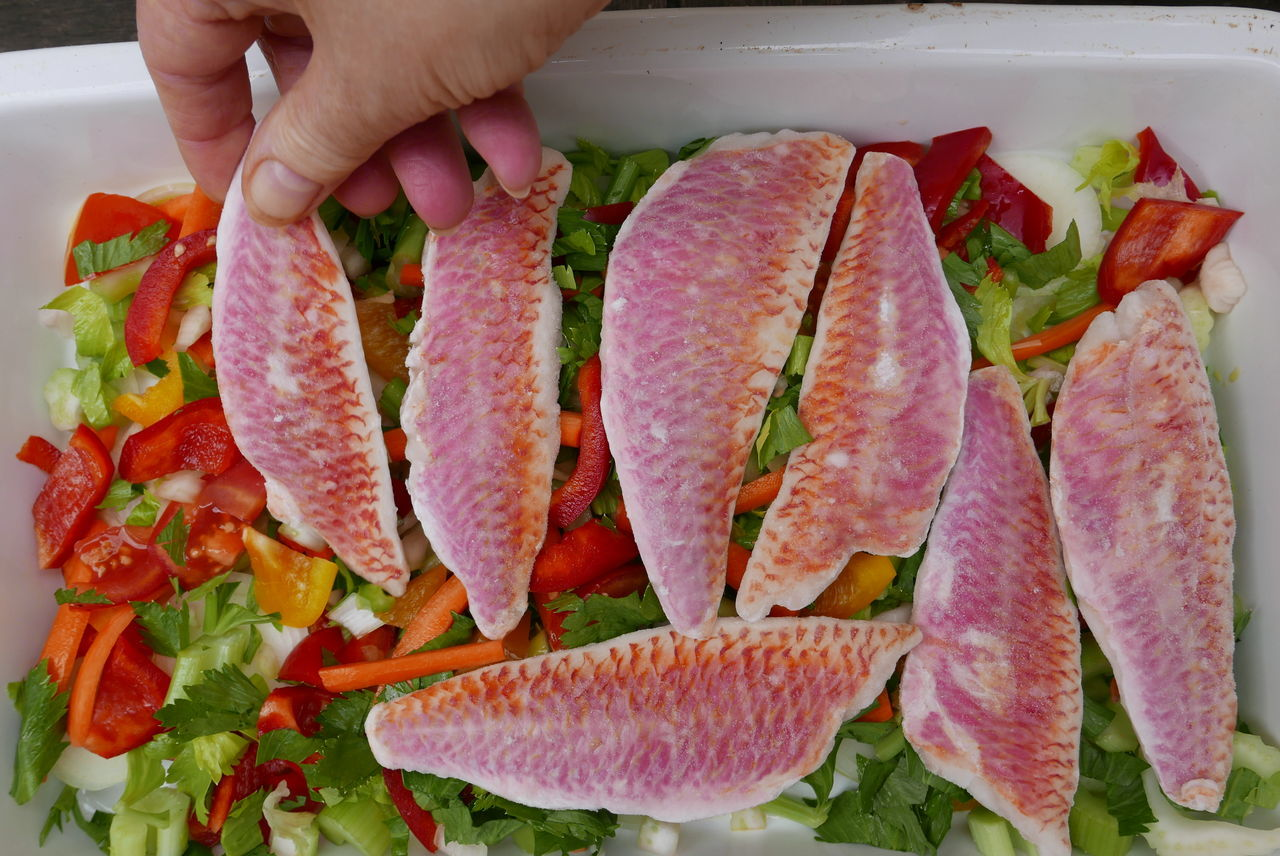 Close-up Food Freshness Multi Colored Unrecognizable Person Fish Fish Filets Preparing Food Fish And Vegetables Red Mullet