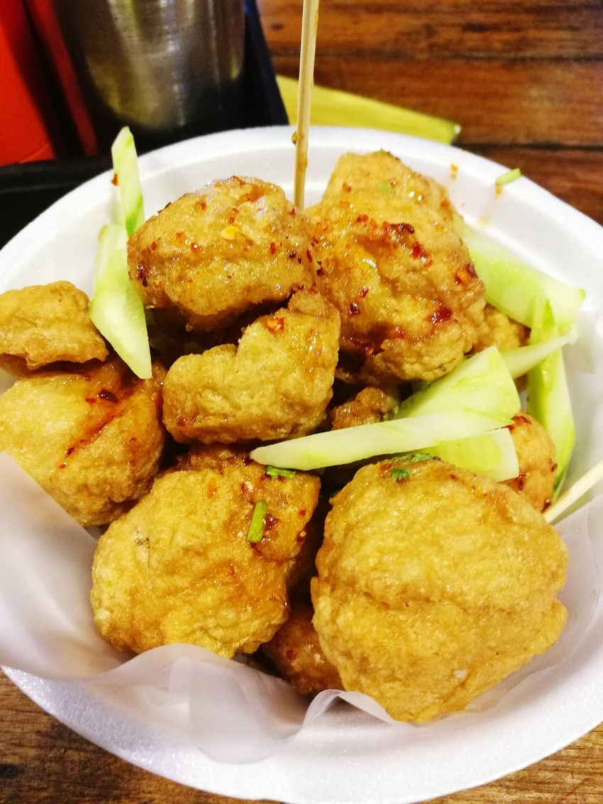 Deep fried fish ball in sweet chillies sauce Ready-to-eat Food Deep Fried Fish Balls Close-up Meal Temptation Unhealthy Eating No People Appetizer Serving Size Deep Fried  ThailandOnly Thai Food Thai Foods Thaifood Sweet Chile Sauce Bangkok Thailand.