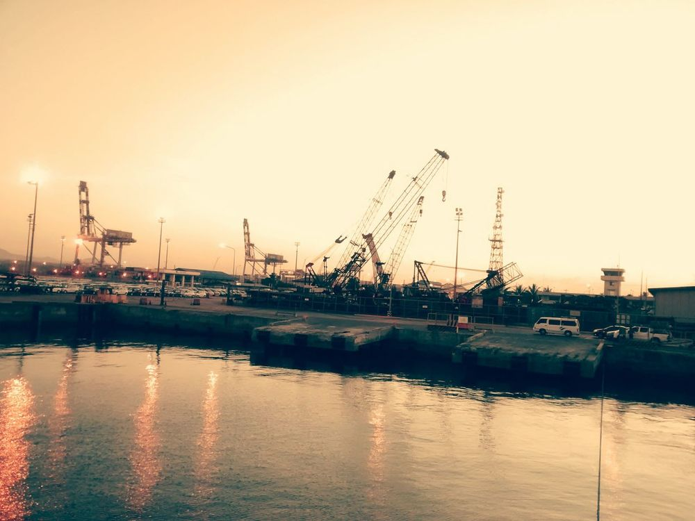 Piers ~ Cranes View From The Ship Dusky Sun Coming Back Home First Eyeem Photo