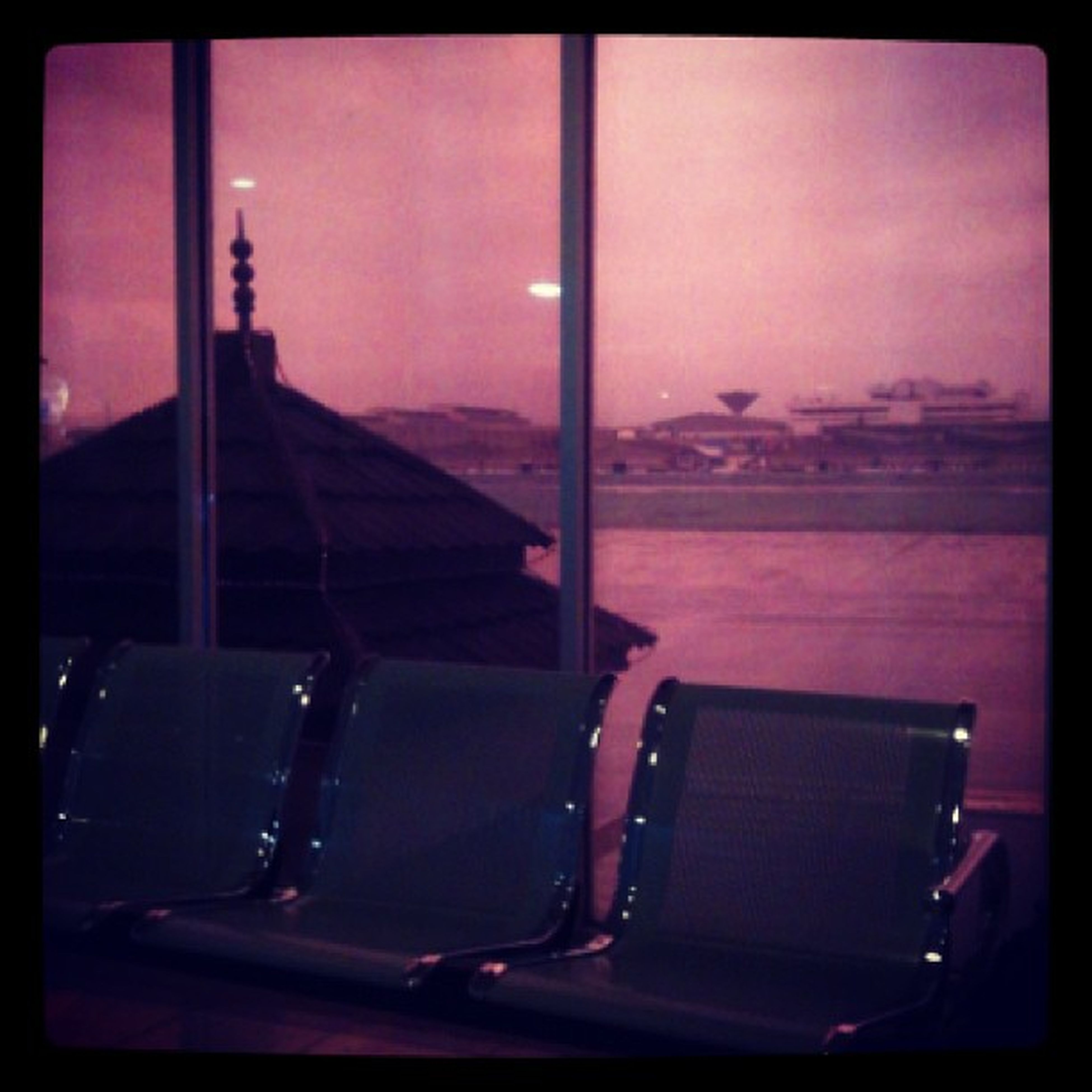 transfer print, auto post production filter, indoors, table, chair, absence, empty, sky, silhouette, window, sitting, no people, seat, dark, restaurant, glass - material, home interior, day, vignette, dusk