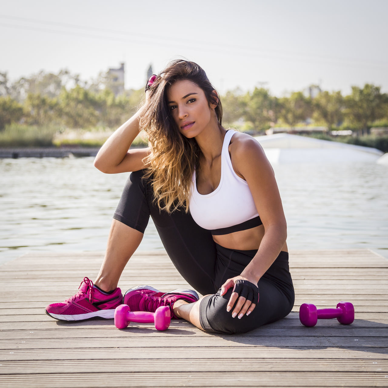 Activewear Adult Athletic Attractive Beautiful Beauty Cardio Dumbbells Exercise Fitness Footing Girl Healty Jogging Lifestile Outdoors Park SP Sportswoman Sportwear Sun Woman