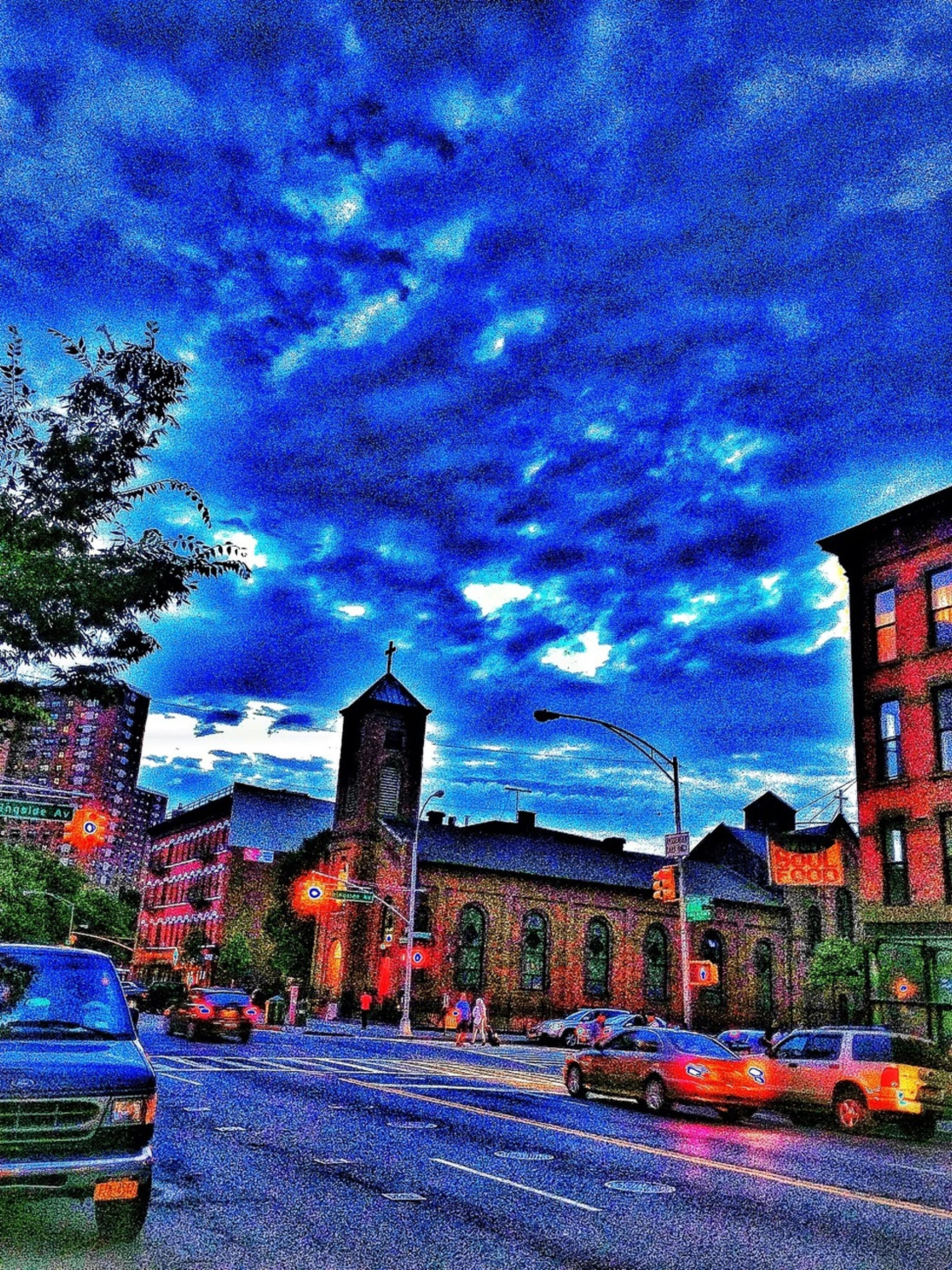 building exterior, sky, architecture, built structure, cloud - sky, cloudy, house, weather, residential building, storm cloud, residential structure, cloud, city, dramatic sky, blue, dusk, illuminated, rainbow, street, tree