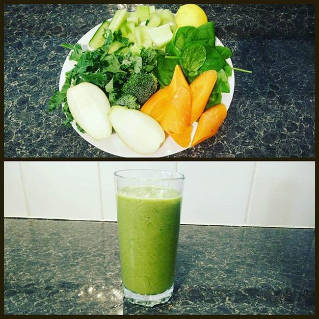 Breakfast! Kale, spinach, broccoli, cucumber, celery, carrot, pear, lemon and coconut water 😋 Breakfast Smoothie Healthybreakfast Greenmachine Fitfam Fitfood Morning Foodforfuel Lovethistuff Paleo Breakfastofchampions Coconutwater Innocent Vegan Veganfoodshare